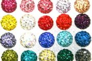 8mm Pave Crystal Beads- 70 Stones- Half Drilled
